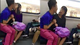搭火車看到情侶猛親 他PO網引兩派爭論。(圖/翻攝自爆廢公社)