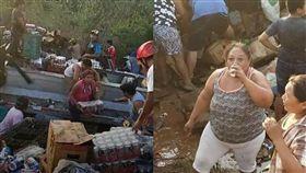 車禍,翻覆,啤酒,公路,墨西哥,偷竊,警察,阻止,瘋搶,卡車, 圖/翻攝自推特