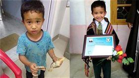 印度男童輾小雞。(圖/翻攝自Ahmed Agritreasure twitter)