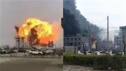 中國大陸江蘇鹽城市化工廠發生爆炸(圖/翻攝自微博)