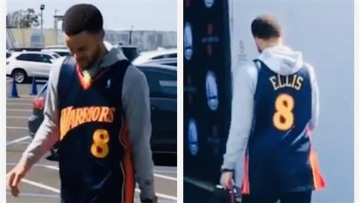 Stephen Curry前穿上Monta Ellis的球衣(圖/翻攝自Ellis個人IG)