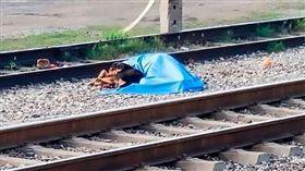 墨西哥,主人遭火車撞死,狗狗死守屍體旁不願離去。(圖/翻攝自推特)