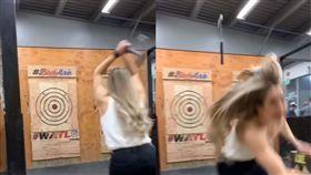 斧頭,標靶,飛鏢,遊戲,美國,擲斧,喪命,反彈,劈頭,砍頭 圖/翻攝自YouTube