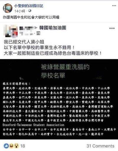 臉書粉專「小聖蚊的治國日記」貼韓粉永不錄用文,臉書及韓國瑜,組合圖