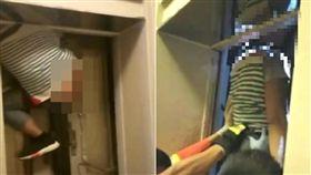 驚!遭電梯夾頭懸吊半空 維修工滿地鮮血當場死亡 圖/翻攝自微博