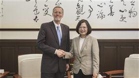 蔡英文總統23日接見美國在台協會(AIT)台北辦事處新任處長酈英傑。(圖/總統府提供)