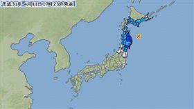 日本地牛翻身 東北發生規模6.0強震 (圖/日本氣象廳