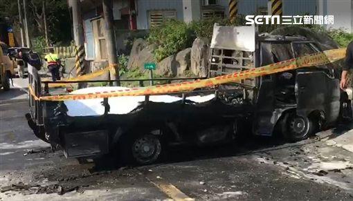 蘇花公路車禍,重機騎士全身燒焦身亡。(圖/翻攝畫面)