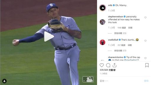 ▲馬查多(Manny Machado)從三壘界外區長傳一壘刺殺跑者。(圖/翻攝自MLB IG)