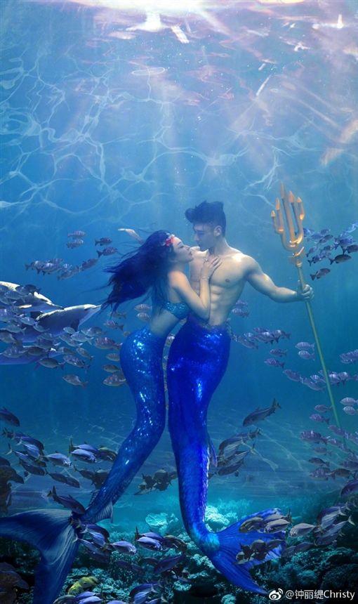 鍾麗緹,美人魚,人魚夫婦,張倫碩/翻攝自鍾麗緹微博