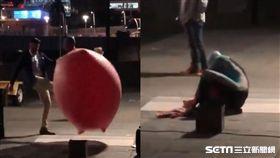 台灣魔術師街頭演出…澳洲男伸腳踹破氣球 他重摔倒地扭傷 圖/許鴻糧授權提供