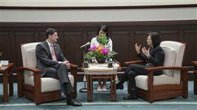 總統蔡英文15日在總統府接見美國眾議院前議長萊恩。(圖/總統府提供)