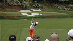 ▲果嶺正中央(綠圈處)是第12洞最安全的擊球路線。(圖/翻攝自Augusta.com)