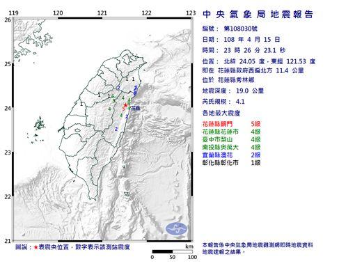 地震,中央氣象局,花蓮 圖/翻攝自中央氣象局