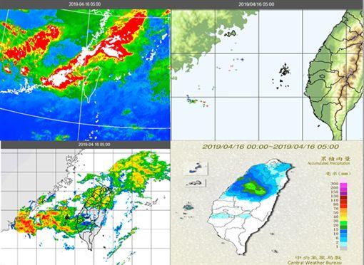 圖:今晨5時觀測資料顯示,受鋒面雲系(左上圖)影響,伴隨較強降水回波(左下圖);閃電偵測顯示,海峽西側有一些雷雨胞消長(右上圖),中部以北已有明顯降雨(右下圖)。