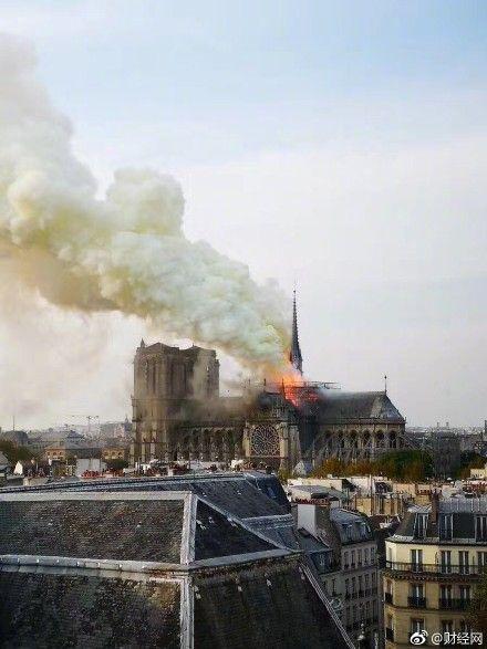 巴黎聖母院大火。微博