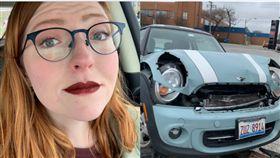 美國車禍女安全氣囊上留唇印。(圖/翻攝自Taryn Elise推特)