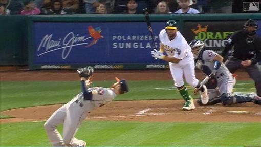 ▲太空人投手麥克修(Collin McHugh)下腰閃過強襲球。(圖/翻攝自MLB官網)