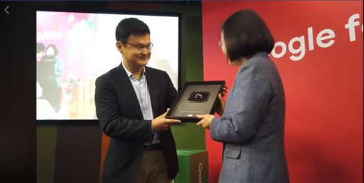 蔡英文參觀Google台灣辦公室。翻攝蔡英文臉書