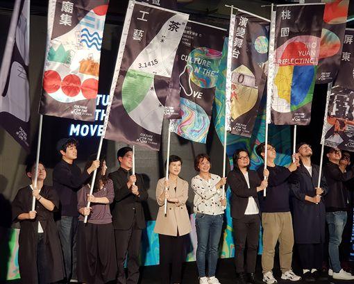 台灣文創界年度盛事「2019台灣文博會」24日即將登場,今年規模擴大為5大展區,17日舉行展前記者會,文化部長鄭麗君(左5)等人出席。中央社記者鄭景雯攝 108年4月17日
