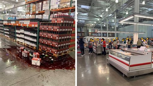 台灣花蓮縣秀林鄉今(18)日下午1時01分,發生規模6.1地震,北部地區民眾紛紛感受到明顯搖晃。不過有消費者在好市多(COSTCO)中和店,看到一幕奇特景象,在地震當下時,貨櫃的紅酒都「被震碎」,但另一處卻有人處變不驚,淡定的繼續排隊「試吃」,讓他擔心感嘆:「覺得大家應該先遠離貨架才是…」(圖/翻攝自COSTCO 好市多 消費經驗分享區)