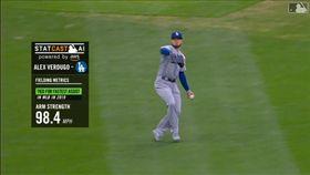 ▲道奇左外野手韋杜戈(Alex Verdugo)長傳本壘觸殺跑者。(圖/翻攝自MLB官網)