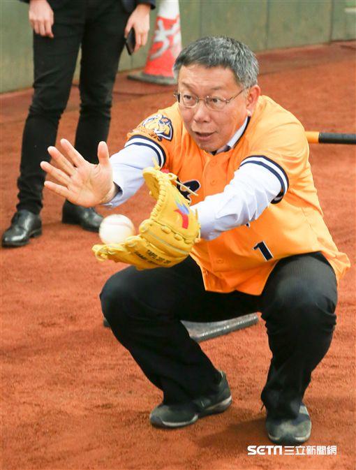 ▲台北市長柯文哲受邀到天母球場開球。(圖/記者林士傑攝影)