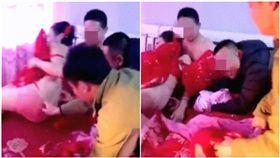 中國大陸,婚鬧,婚禮,新娘,強吻(圖/翻攝自微博)
