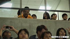 周美青現身棒球場為兄弟加油。(圖/記者王怡翔攝影)