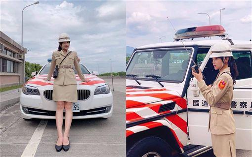 女警穿著早期制服照,大秀美腿超火辣。(圖/翻攝自國道公路警察局臉書)