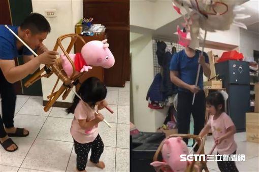 瘋媽祖後遺症…女兒吵著要抬轎 爸做「粉紅豬超跑」網萌翻 圖/蔡裕棠授權提供