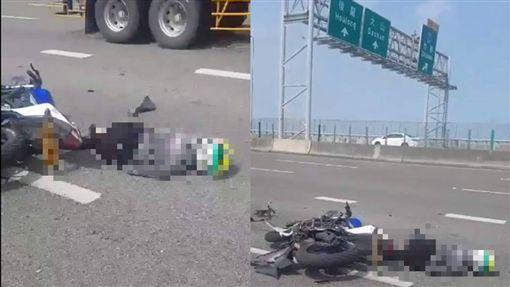苗栗18歲男騎重機上國道追撞油罐車亡/翻攝自台灣新聞記者聯盟資訊平台臉書