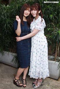 日本人氣AV天后波多野結衣,為迎接出道10周年,特地與好閨密「挑逗女王」之稱的AV女神大槻響一同來台舉辦見面會。(記者邱榮吉/攝影)