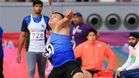 ▲鄭兆村以86公尺72成績在亞洲田徑錦標賽摘金。(亞洲田徑總會提供)