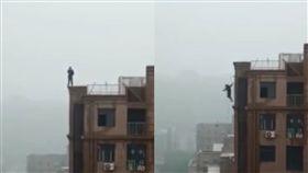 (圖/翻攝自北京時間)中國,沁陽,墜樓,頂樓