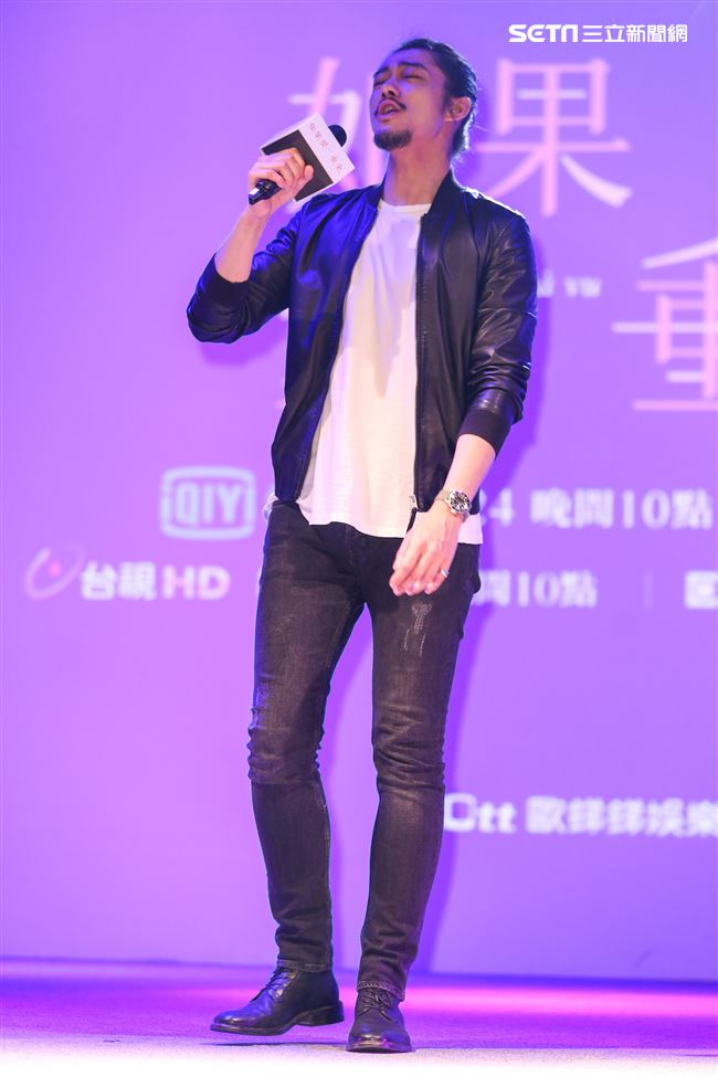平行時空劇《如果愛,重來》首映會,歌手楊永聰演唱片頭曲。(記者林士傑/攝影)