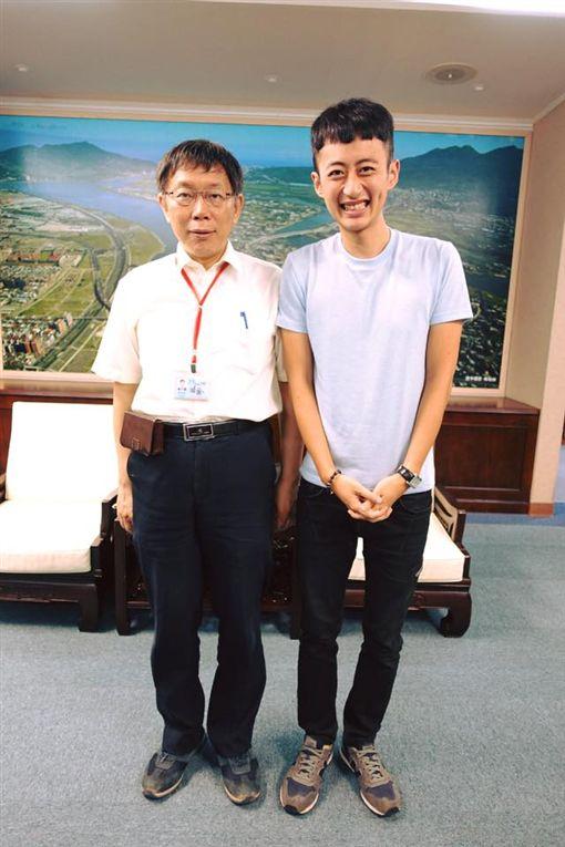 泛舟哥張吉吟、台北市長柯文哲。(圖/翻攝自泛舟哥臉書)