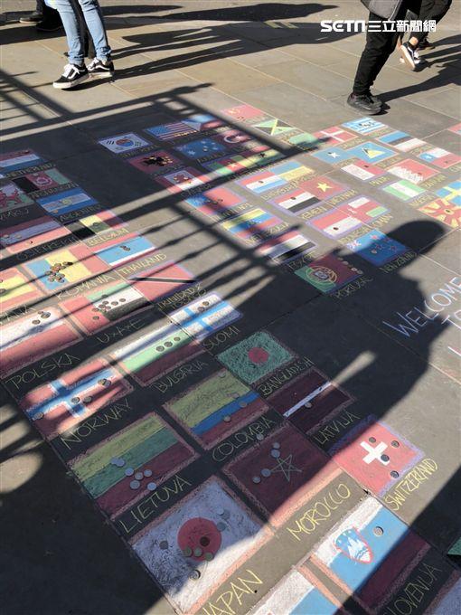 英國,街頭藝人,塗鴉,國旗,Taiwan NO.1,台灣記者張家寧攝影