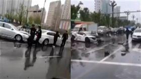 藍寶堅尼街頭狂飆撞爛 害其他8車一起陪葬(圖/看看新聞)