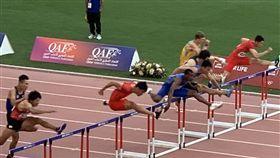 ▲陳奎儒(右4)摘男子110跨欄銅牌。(圖/亞洲田協提供)
