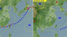 圖:氣象局最新的地面預測圖顯示,5月1日有鋒面影響台灣(左圖),3日已南移至巴士海峽(右圖)。