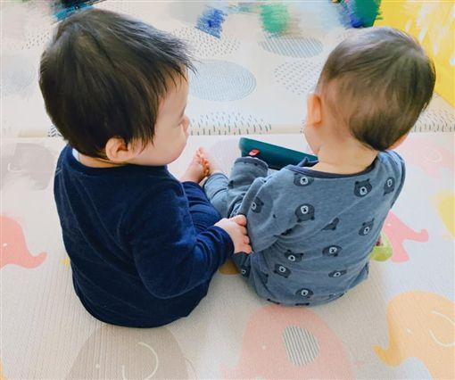 Linda曬出一對雙胞胎兒的照片。(圖/翻攝自Linda臉書)