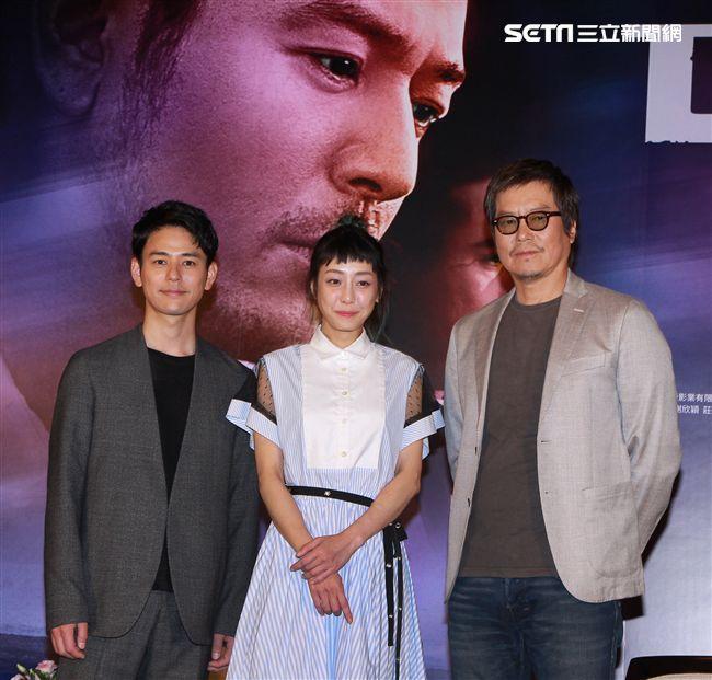 犯罪懸疑大片「亡命之途」演員妻夫木聰、豐川悅司、謝欣穎。(記者邱榮吉/攝影)