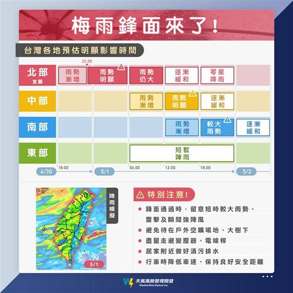 梅雨,鋒面,天氣風險,勞動節