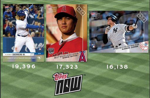 ▲小葛雷諾、大谷翔平及賈吉的菜鳥球員卡,銷售首日排名前3名的球員卡。(圖/翻攝自Bowman Baseball推特)