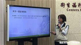 疾管署疫情中心主任劉定萍說明未來麻疹疫情狀況。(圖/記者楊晴雯攝)