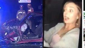 深夜開車玩自拍妙齡女撞死 死前瞬間表情驚恐(圖/每日郵報)
