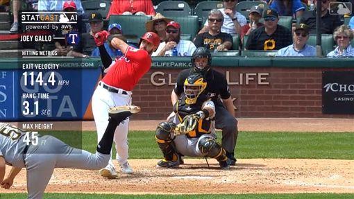 ▲遊騎兵外野手加洛(Joey Gallo)開轟,球3.1秒飛出牆外。(圖/翻攝自MLB官網)