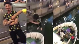 慶祝令和跳川!大阪男「碰」慘墜觀光船(圖/翻攝自YouTube)