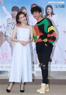 週日偶像劇「月村歡迎你」演員吳念軒、李佳豫。(記者邱榮吉/攝影)